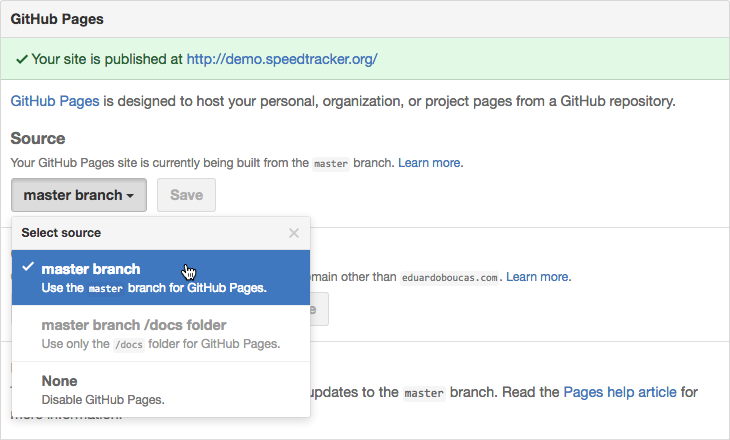 Screenshot showing how to enable GitHub Pages